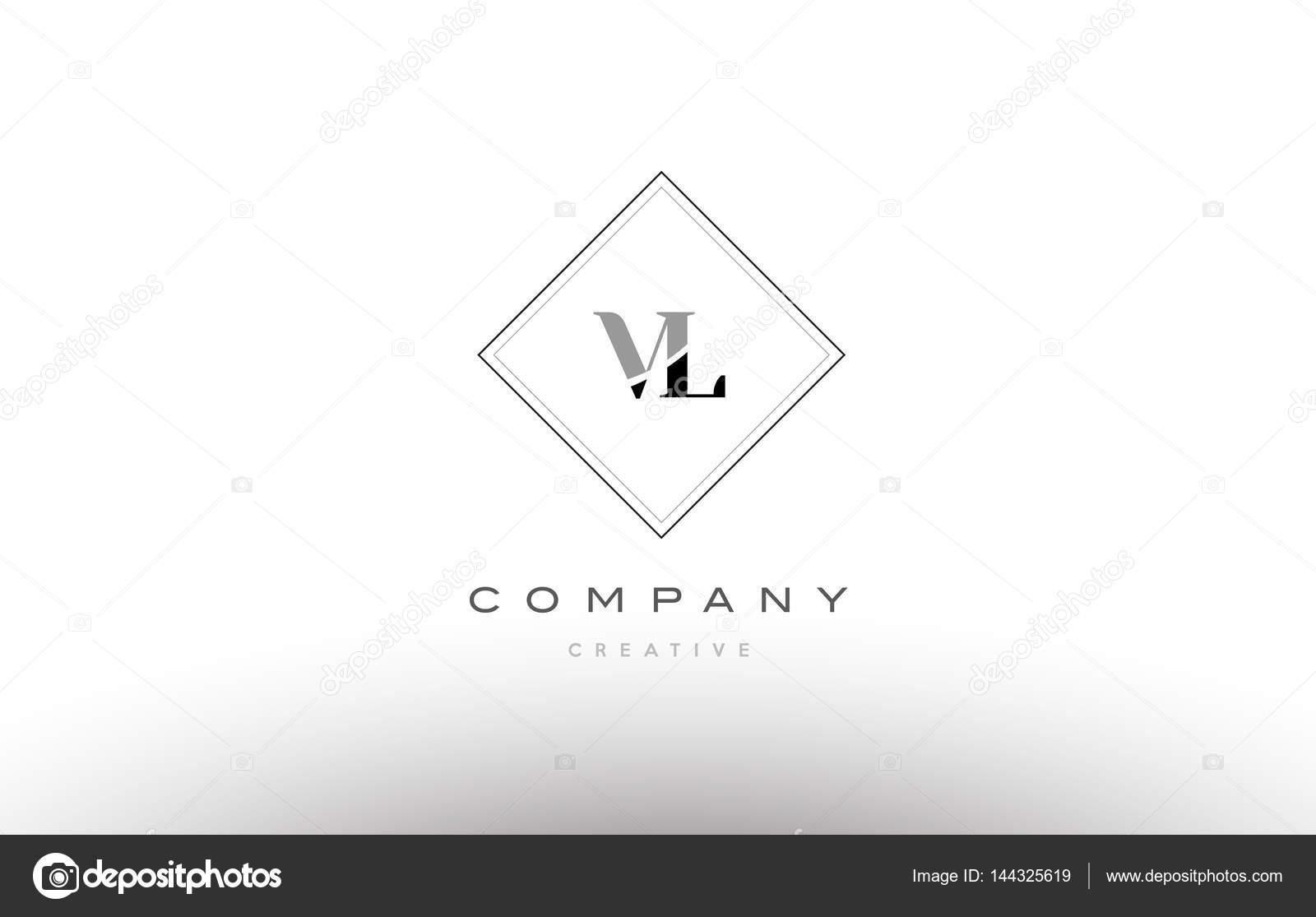 Vl V L Retro Vintage Schwarz Weissen Alphabet Buchstaben Logo