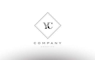 yc y c  retro vintage black white alphabet letter logo