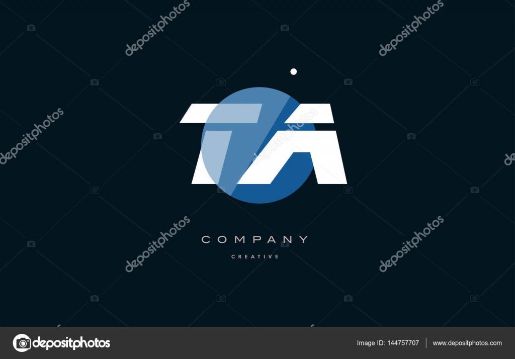TA t un blanco azul círculo grande fuente alfabeto letra logotipo ...