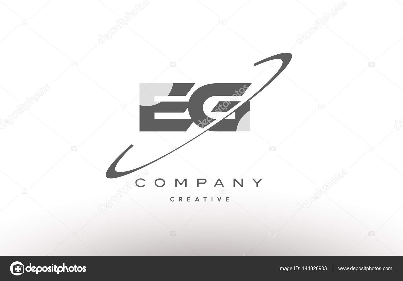 Eg e g swoosh grey alphabet letter logo u2014 stock vector