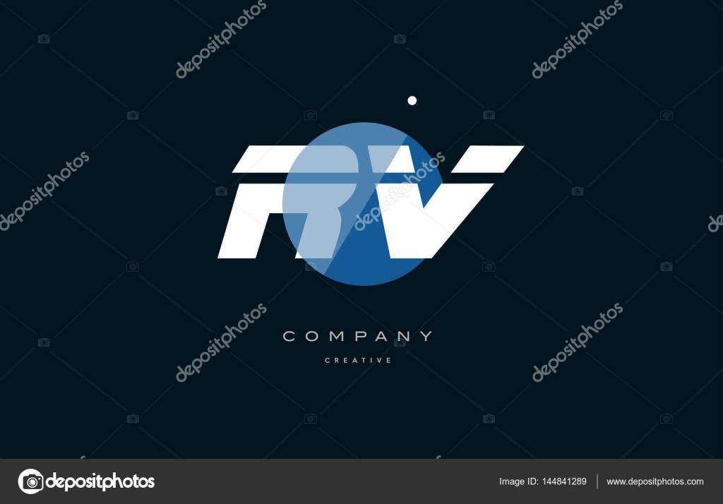 Rv R V Blauw Witte Cirkel Groot Lettertype Alfabet Letter