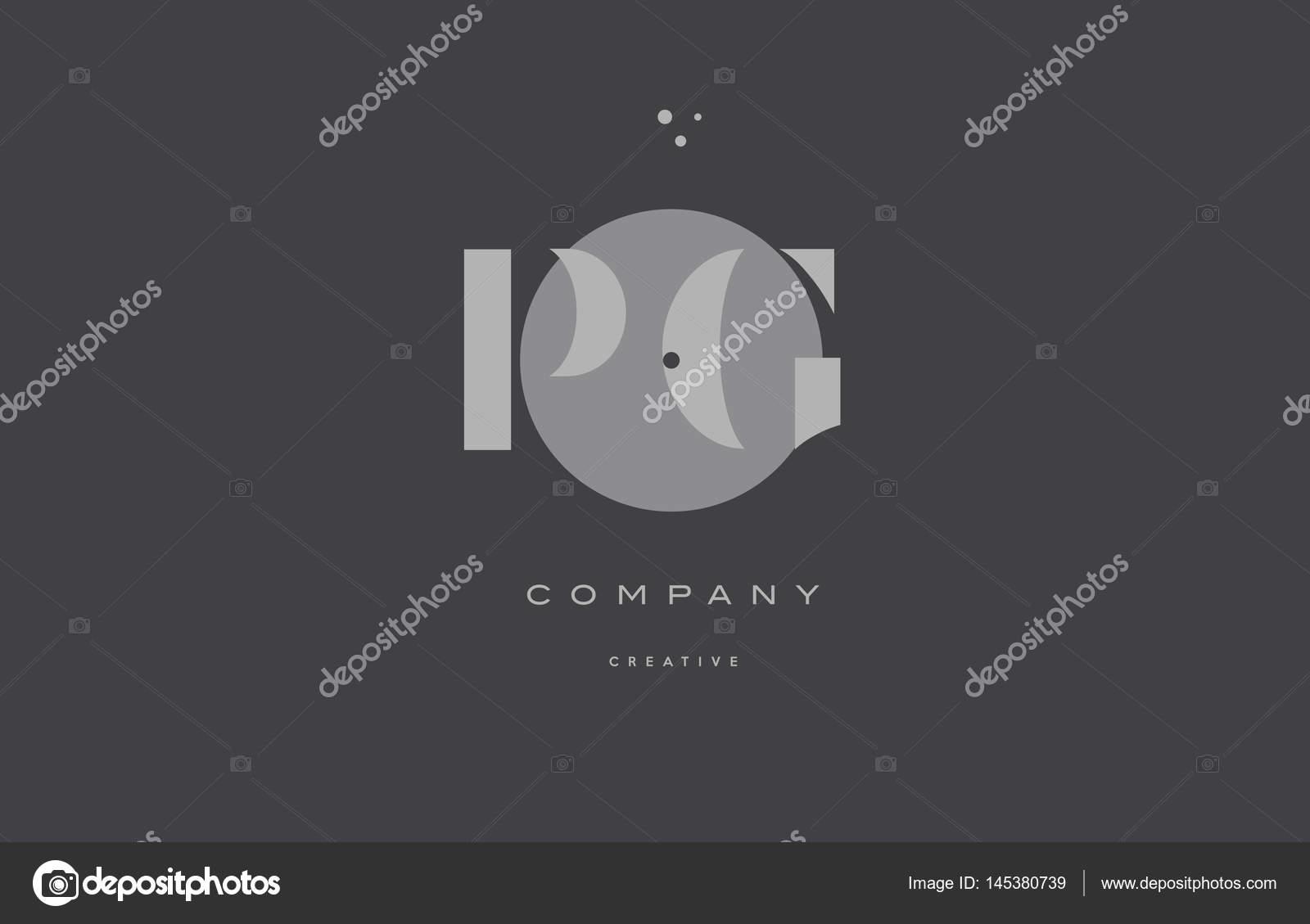 Pg P G Grey Modern Alphabet Company Letter Logo Icon Stock Vector