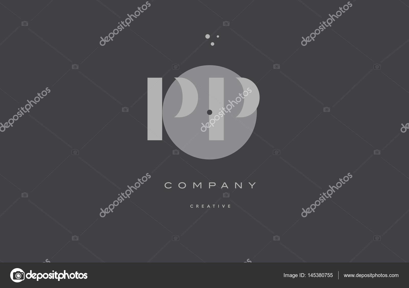 pp p gri çağdaş alfabesi şirket mektup logo simge stok vektör