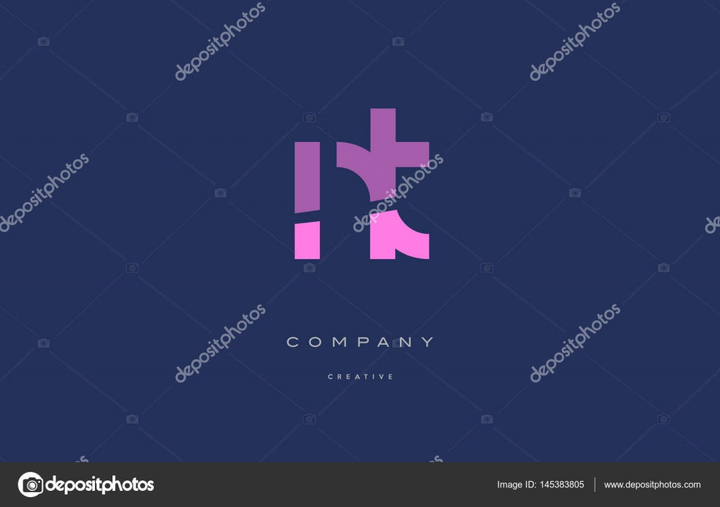 Nt N T Pink Blue Alphabet Letter Logo Icon Stock Vector