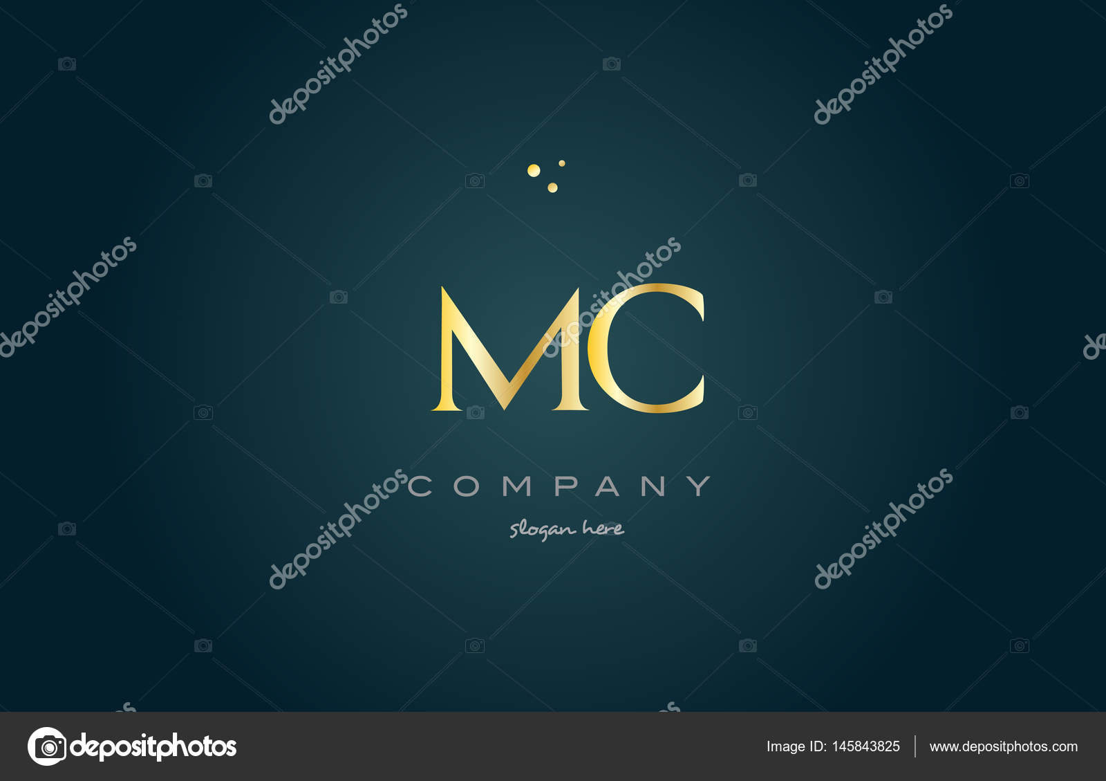 plantilla icono de la insignia de MC m c lujo oro oro alfabeto letra ...