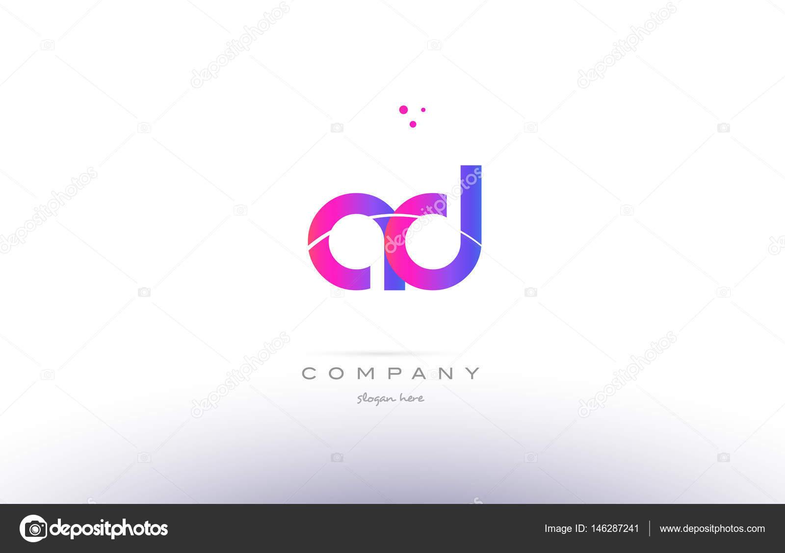 Ad A D Pink Modern Creative Alphabet Letter Logo Icon Template Stock Vector
