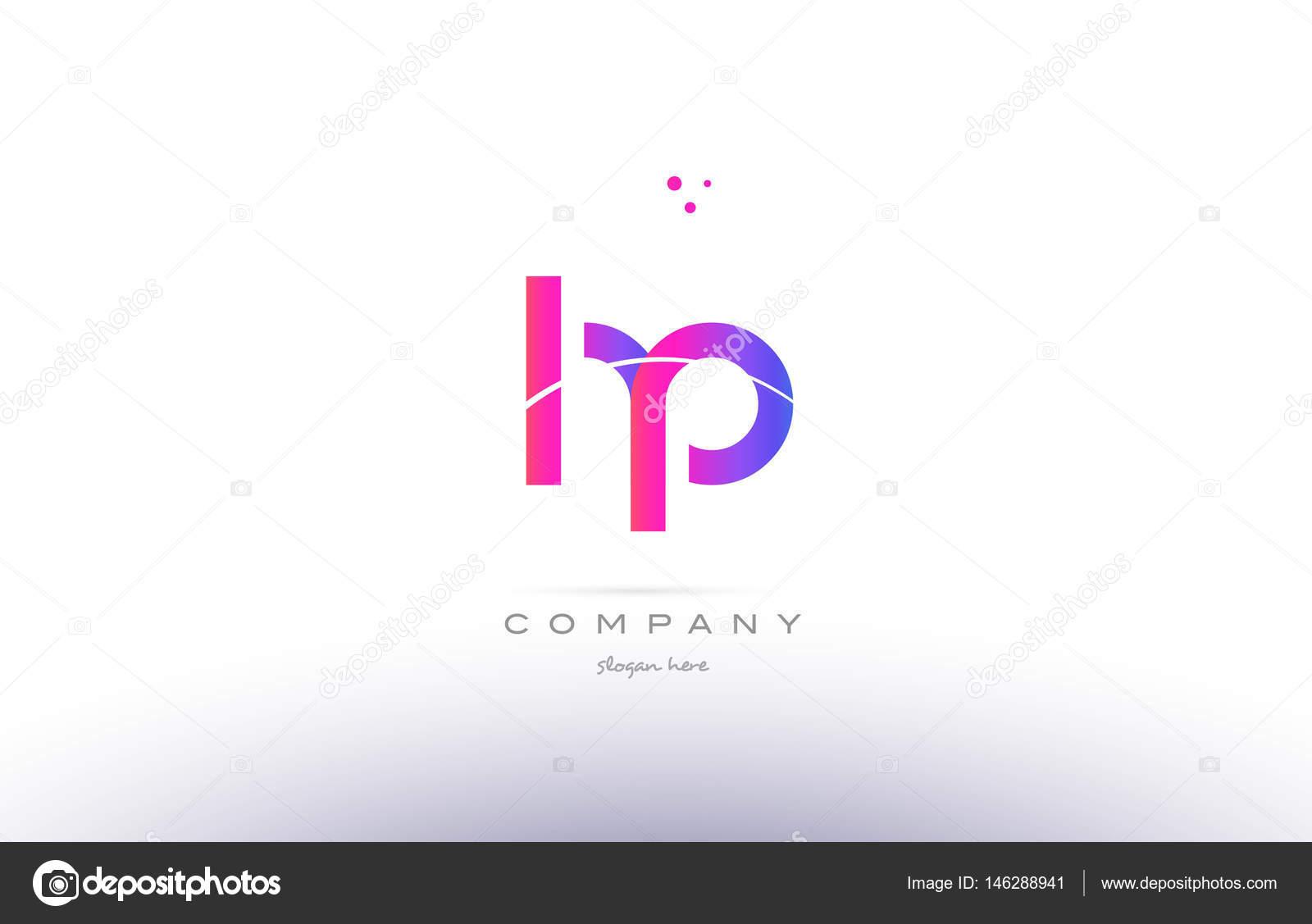 hp h p pink modern creative alphabet letter logo icon template ...