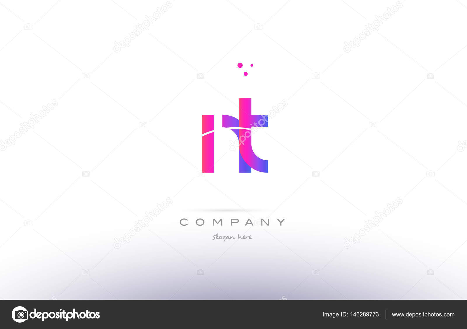Nt N T Pink Modern Creative Alphabet Letter Logo Icon Template