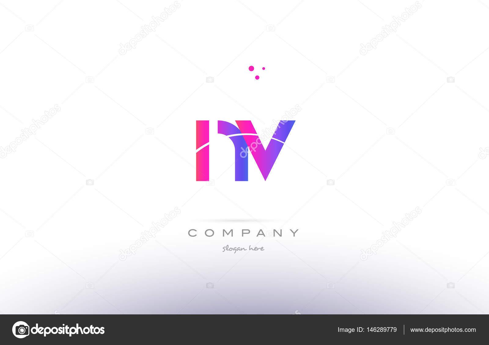 Nv N V Pink Modern Creative Alphabet Letter Logo Icon Template