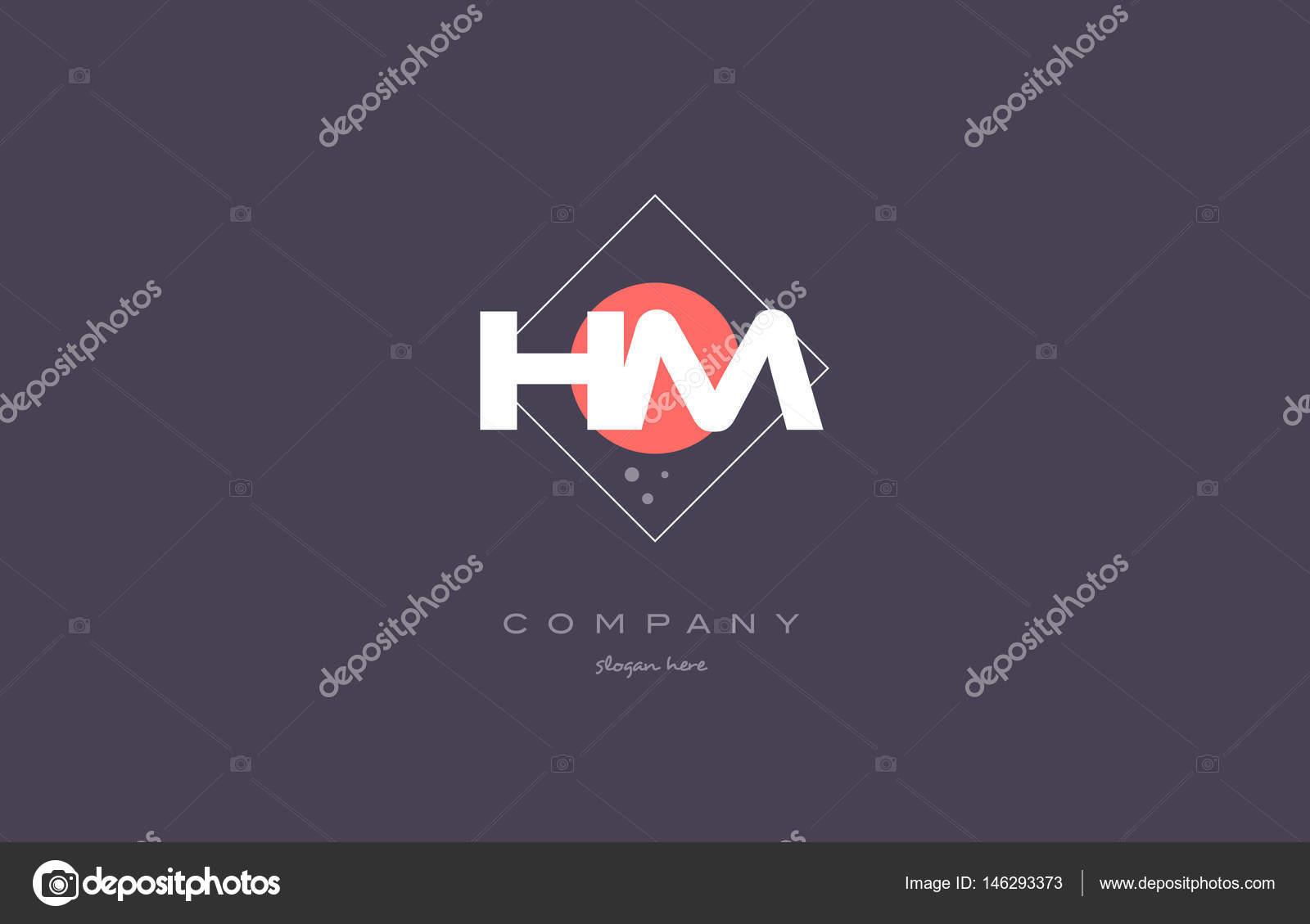 Hm h m vintage retro pink purple alphabet letter logo icon temp — Stock  Vector 9d4859a578eb1