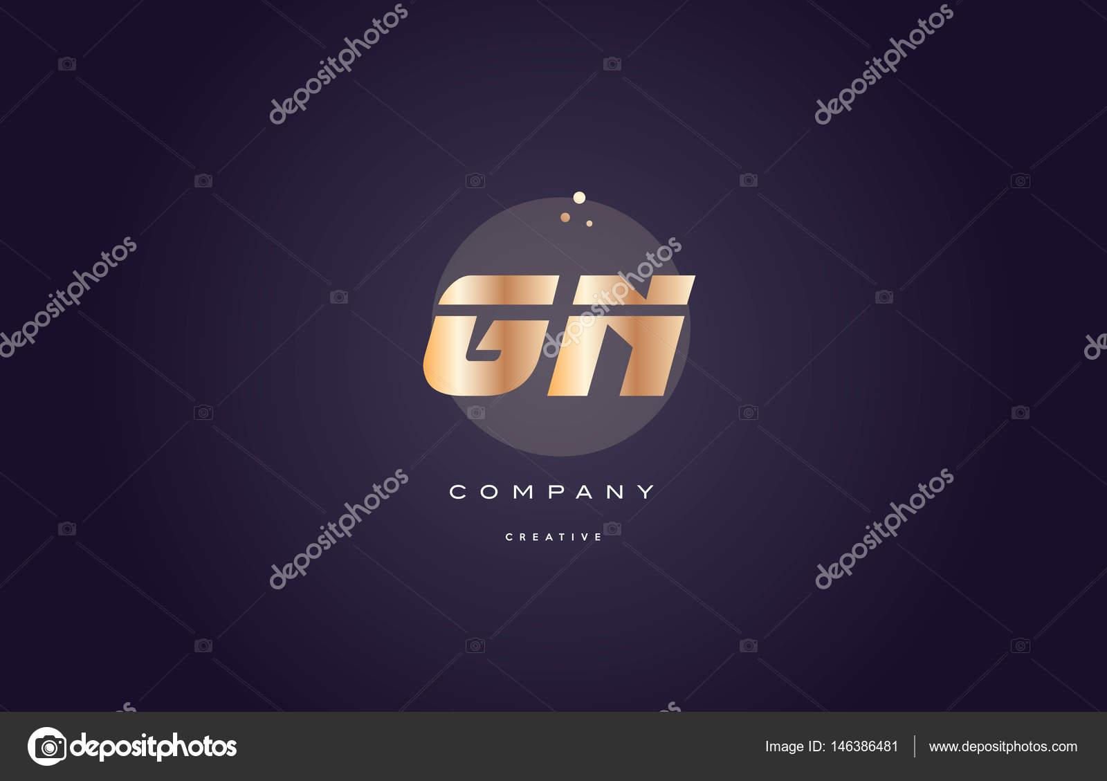 plantilla de icono de GN g n oro metal morado alfabeto letra logo ...