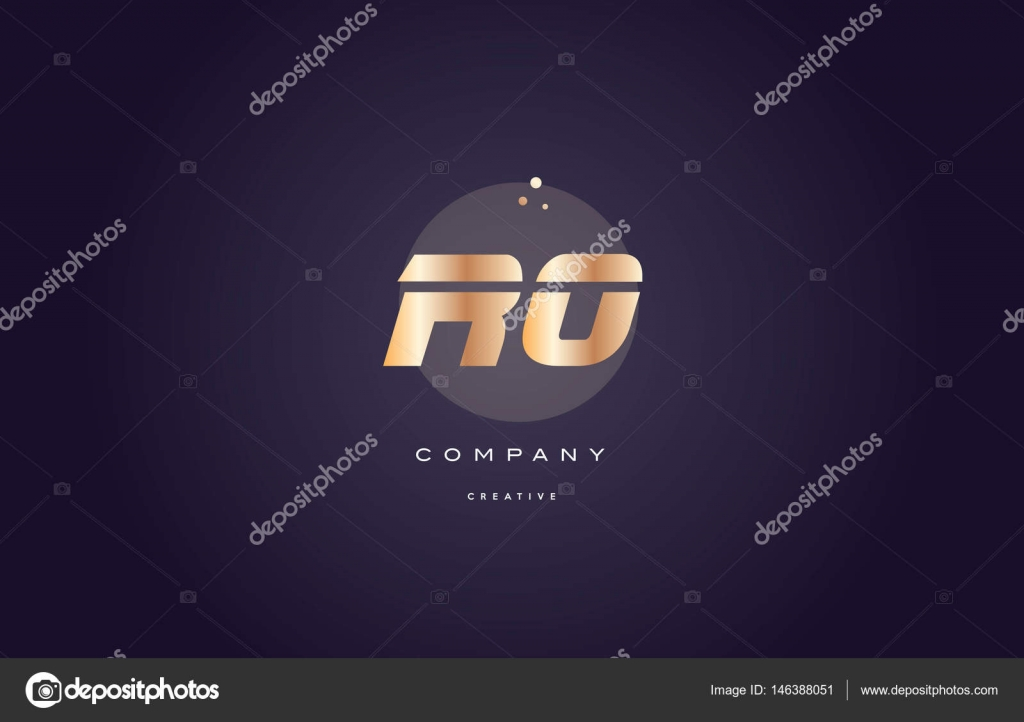 ro r o gold metal purple alphabet letter logo icon template stock