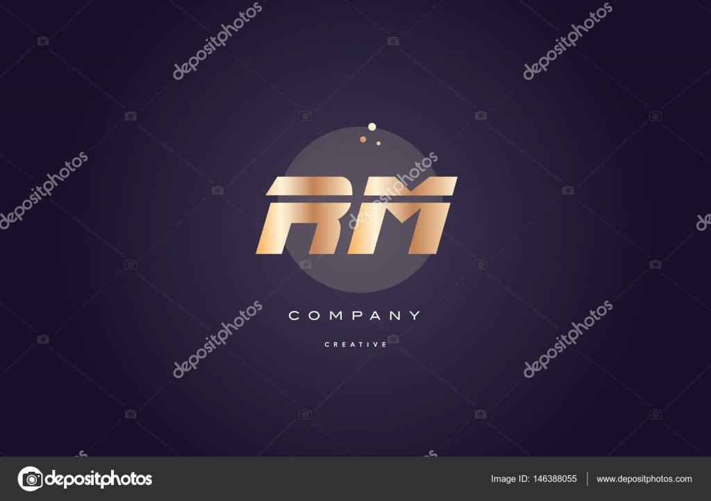 Rm r m gold metal purple alphabet letter logo icon template ...