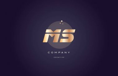 ms m s  gold metal purple alphabet letter logo icon template