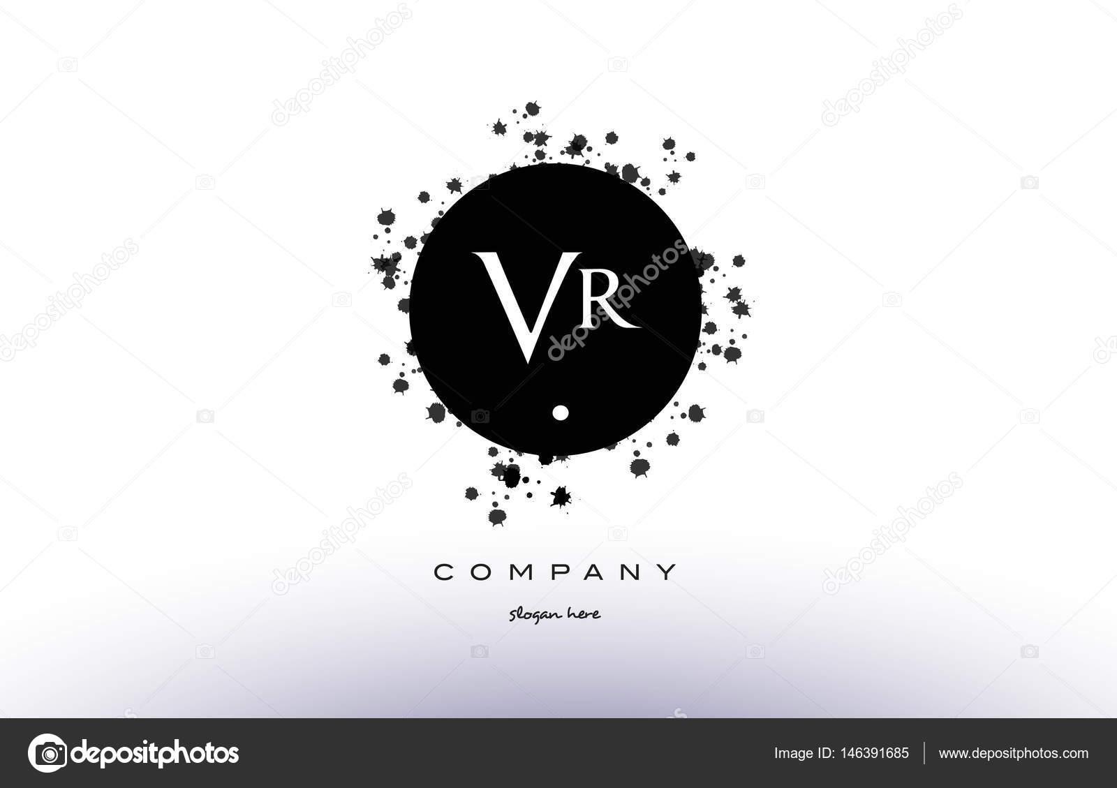eef150449 VR v r círculo preto branco grunge respingo alfabeto retrô vintage empresa logotipo  vetorial ícone modelo de design — Vetor de ...