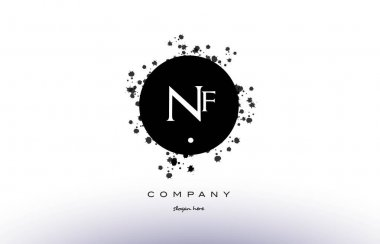 nf n f  circle grunge splash alphabet letter logo vector icon te