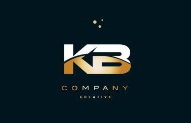 kb k b  white yellow gold golden luxury alphabet letter logo ico
