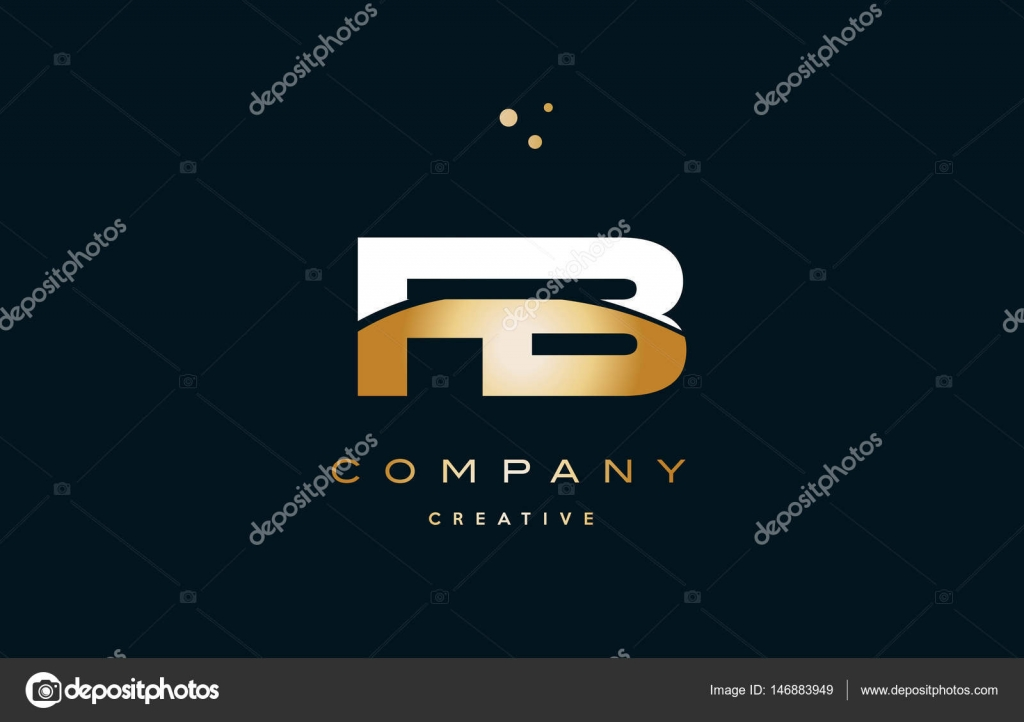 Fb F B White Yellow Gold Golden Luxury Alphabet Letter Logo Ico