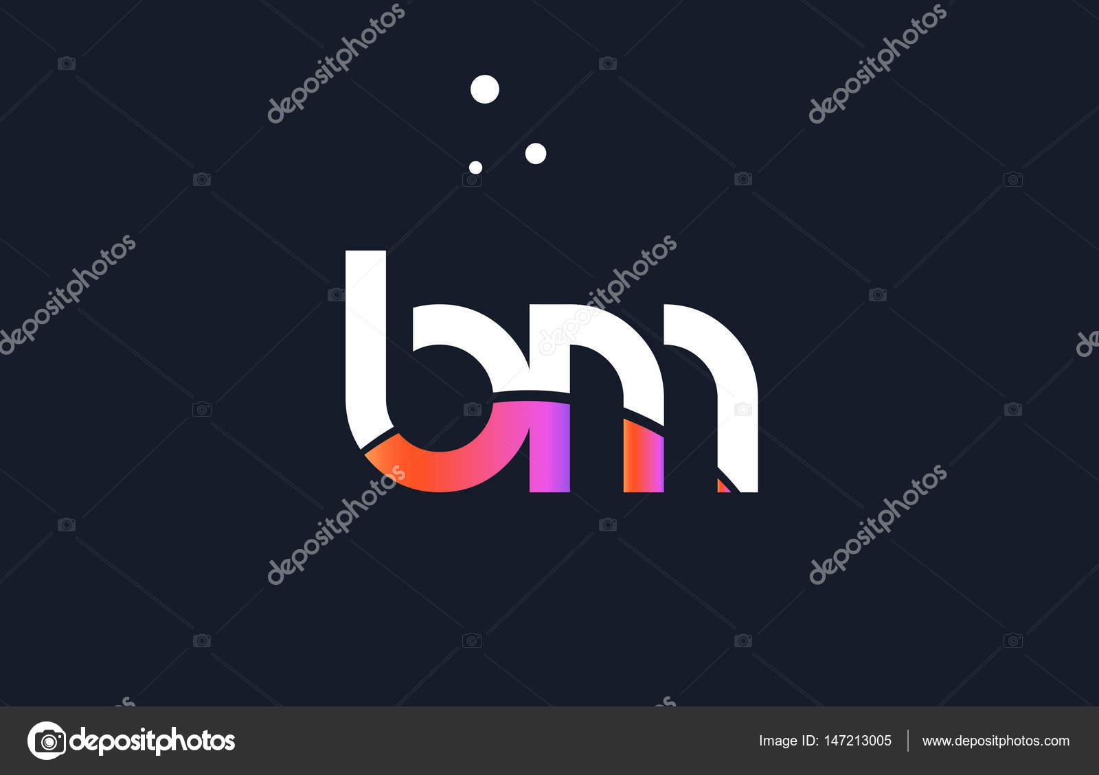 adc29d723 BM b m rosa roxo branco azul alfabeto letra logotipo ícone templat — Vetores  de Stock