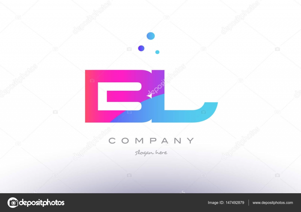 Bl B L Creative Pink Blue Modern Alphabet Letter Logo Icon Temp
