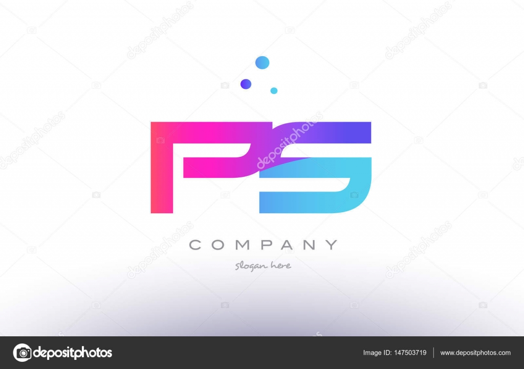 Ps P S Creative Pink Blue Modern Alphabet Letter Logo Icon Temp