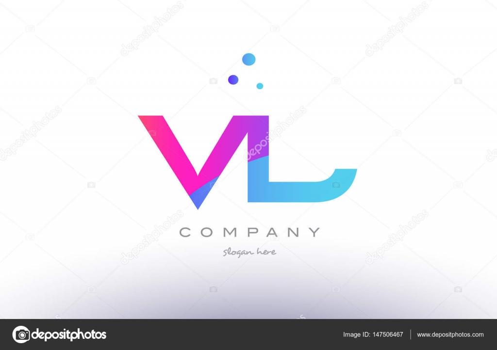 Vl V L Kreative Rosa Blau Moderne Alphabet Buchstaben Logo Symbol