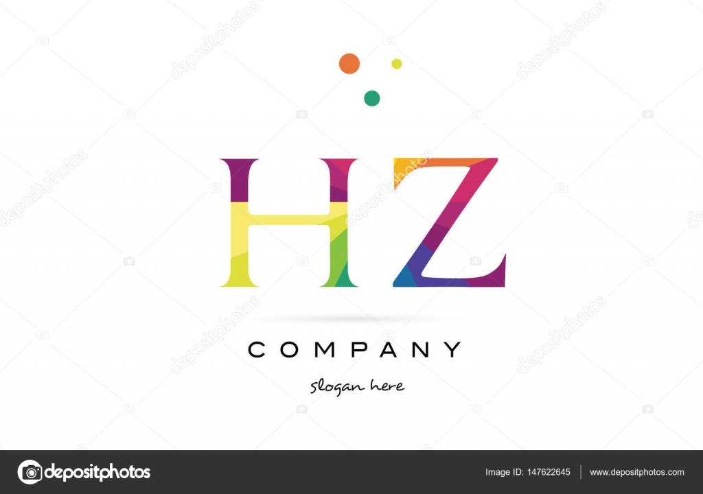 Hz h z kreative Regenbogen Farben Alphabet Buchstaben Logo Symbol ...