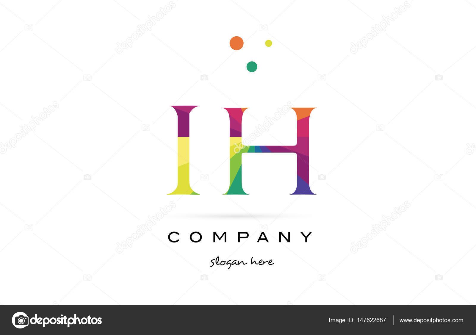 IH ich h kreative Regenbogen Farben Alphabet Buchstaben Logo Symbol ...