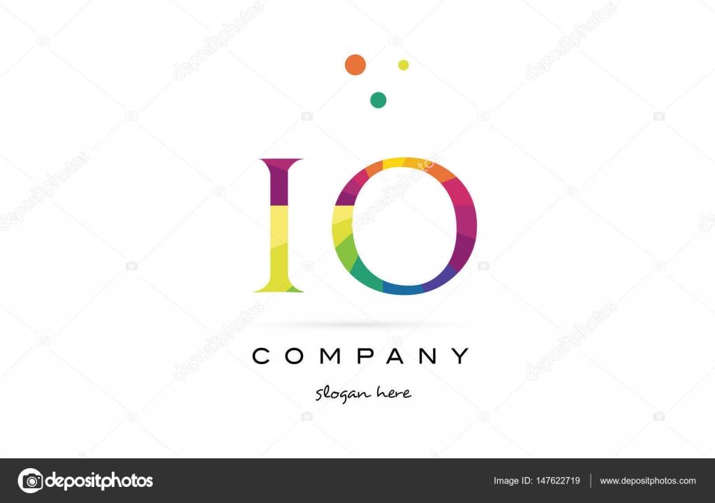 IO ich Logo Symbol o kreative Regenbogen Farben Alphabet Buchstaben ...