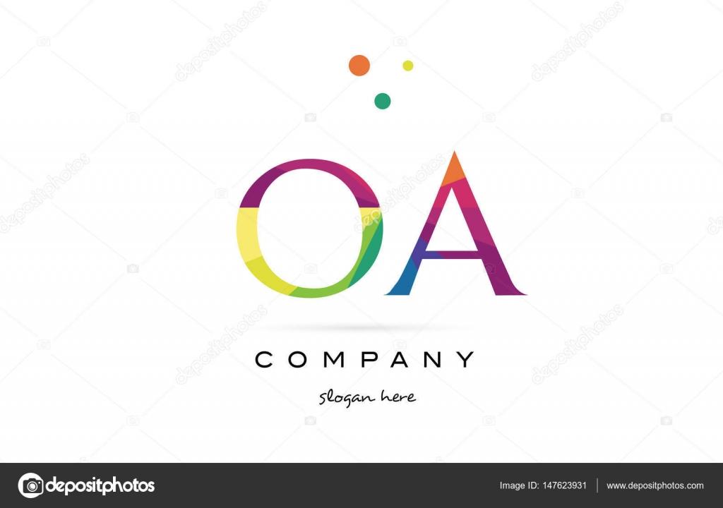 OA o einen kreativen Regenbogen Farben Alphabet Buchstaben Logo ...