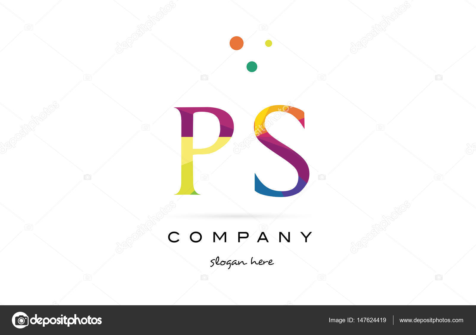 Ps P S Creative Rainbow Colors Alphabet Letter Logo Icon  Stock