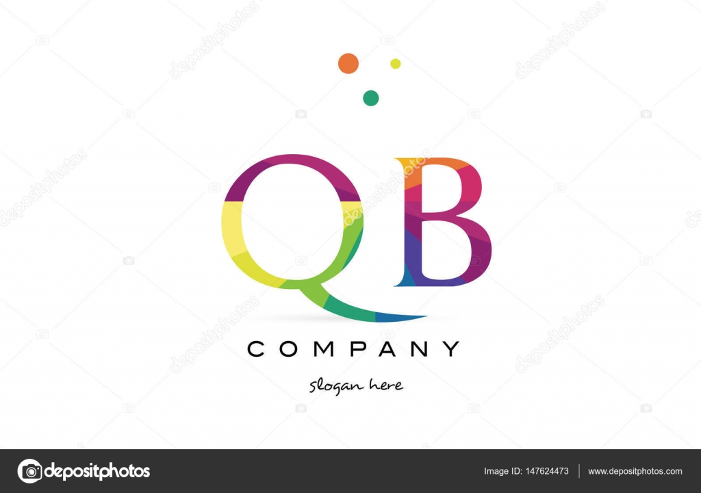 QB q b kreative Regenbogen Farben Alphabet Buchstaben Logo Symbol ...