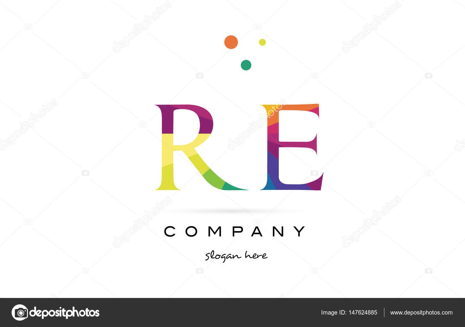 Re r e kreative Regenbogen Farben Alphabet Buchstaben Logo Symbol ...