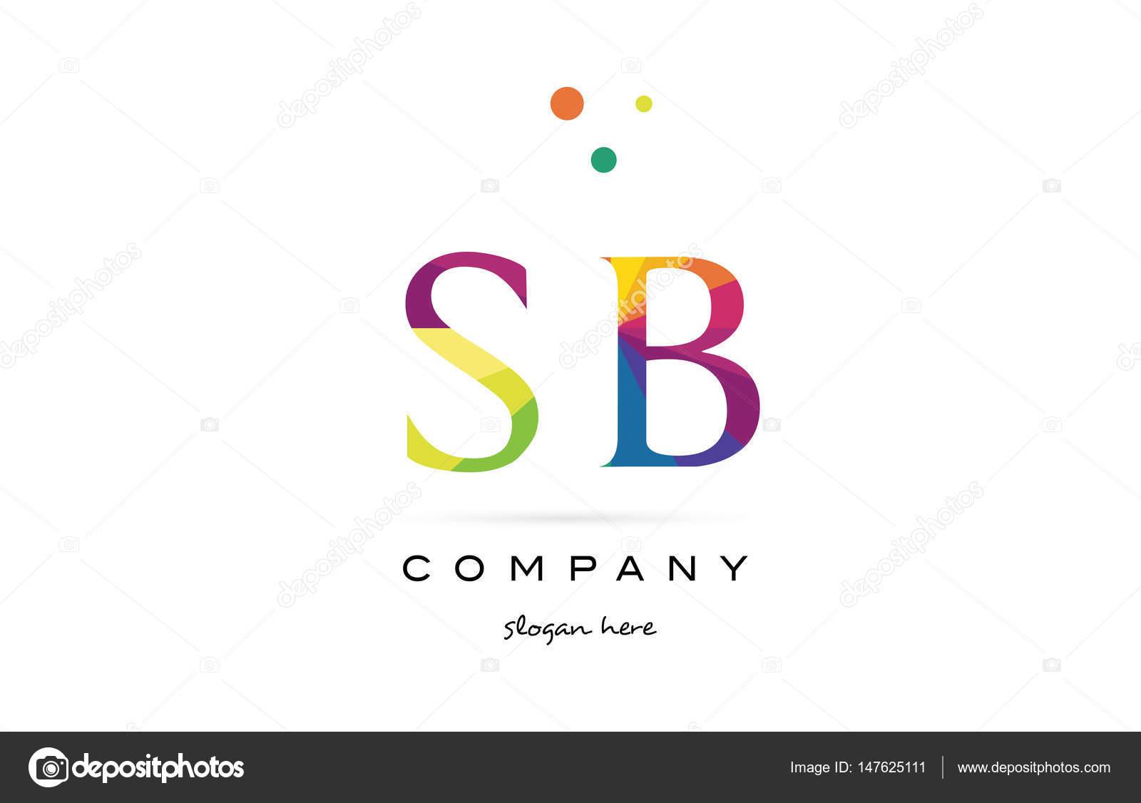 Sb s b creative rainbow colors alphabet letter logo icon — Stock