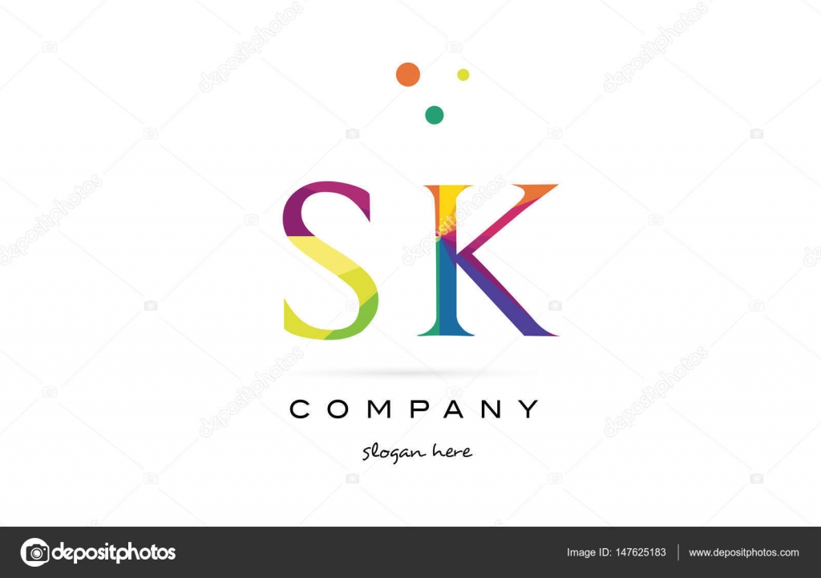 SK s k kreative Regenbogen Farben Alphabet Buchstaben Logo Symbol ...