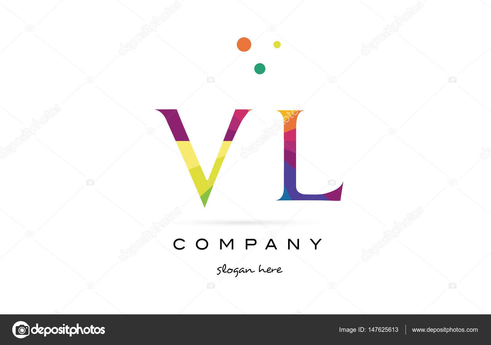 Vl V L Kreative Regenbogen Farben Alphabet Buchstaben Logo Symbol