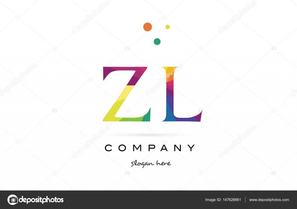 ZL z kreative Regenbogen Farben Alphabet Buchstaben Logo Symbol l ...