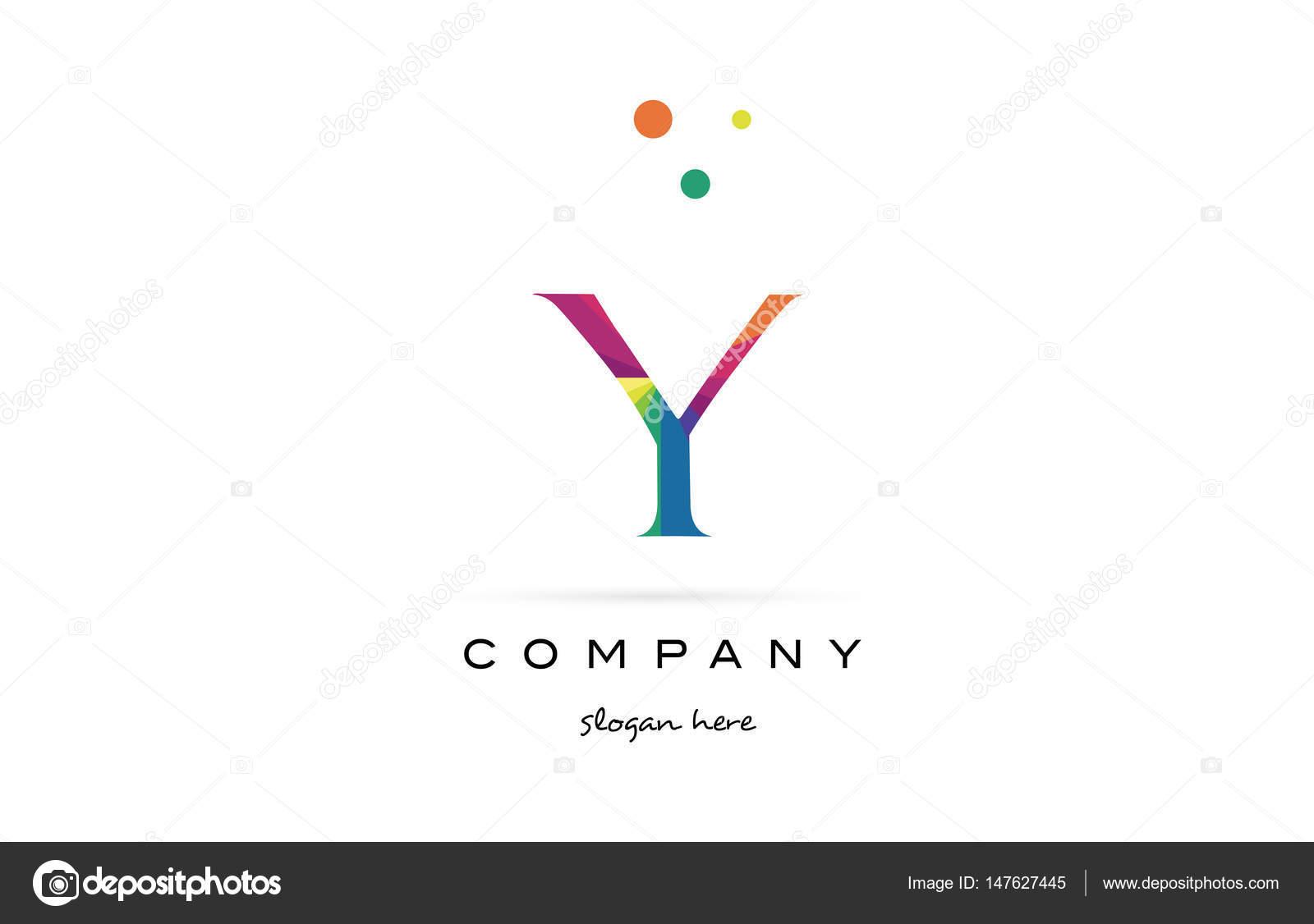 y kreative Regenbogen Farben Alphabet Buchstaben Logo Symbol ...