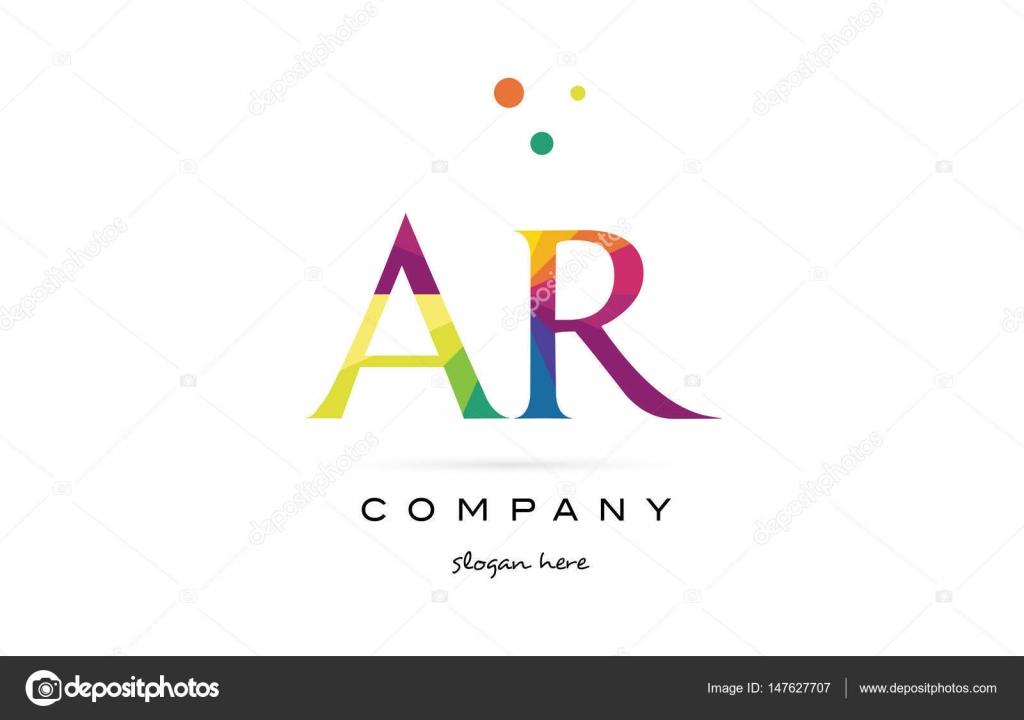 AR r kreative Regenbogen Farben Alphabet Buchstaben Logo Symbol ...