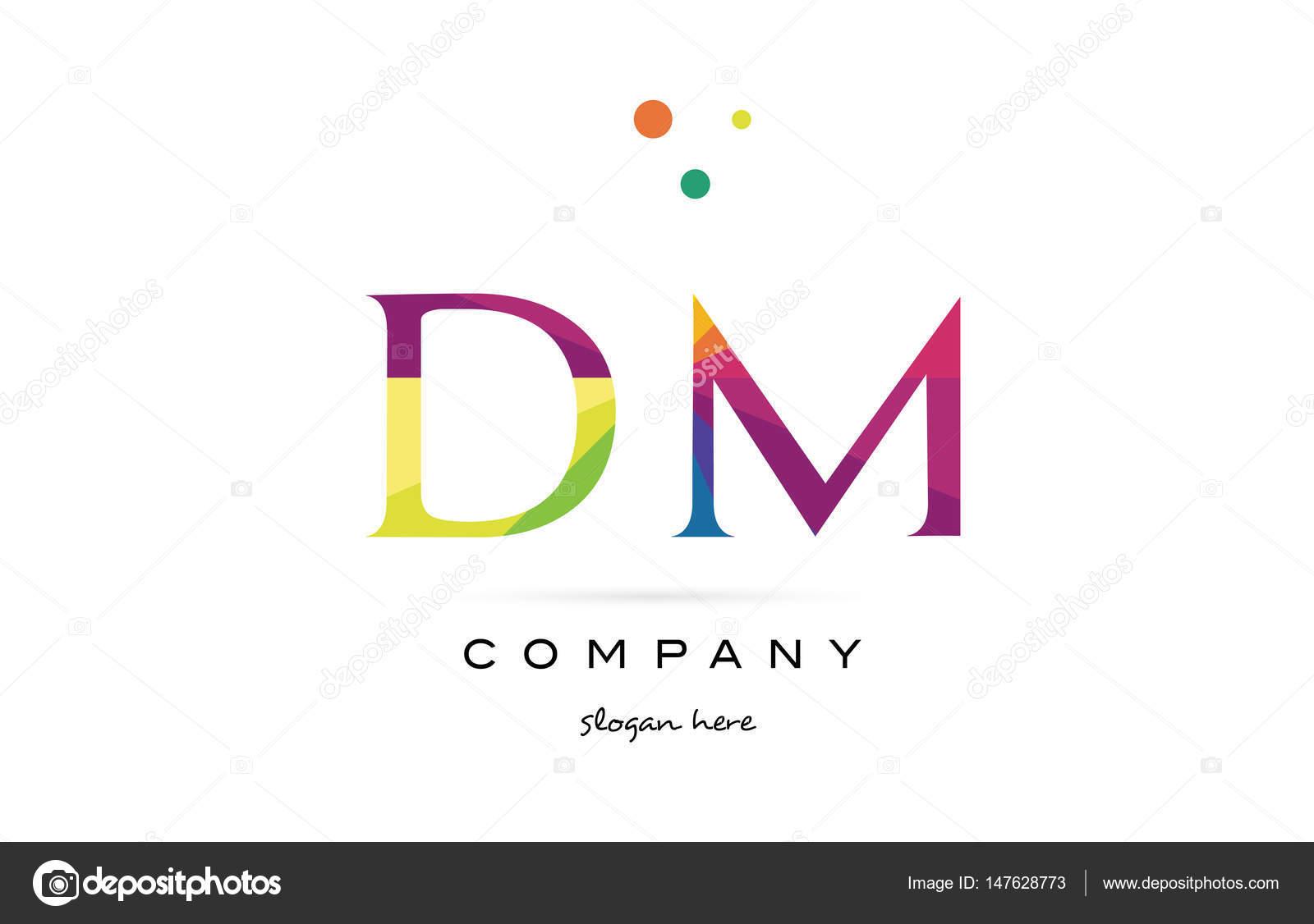 DM-Logo Symbol d m kreative Regenbogen Farben Alphabet Buchstaben ...