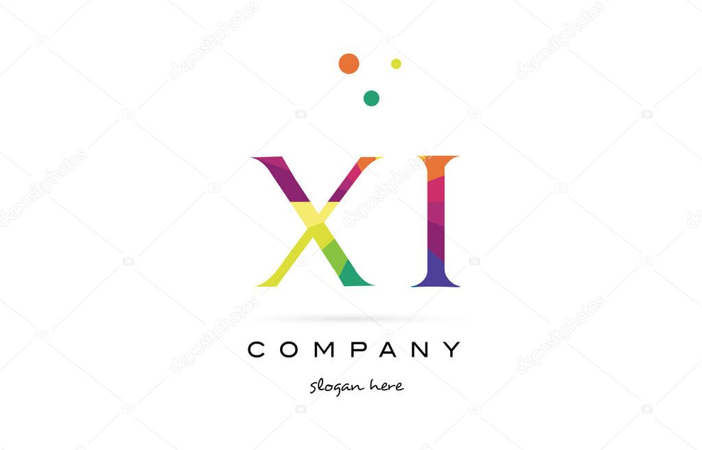 XI X I Icono De Insignia De Arco Iris Creativo Colores