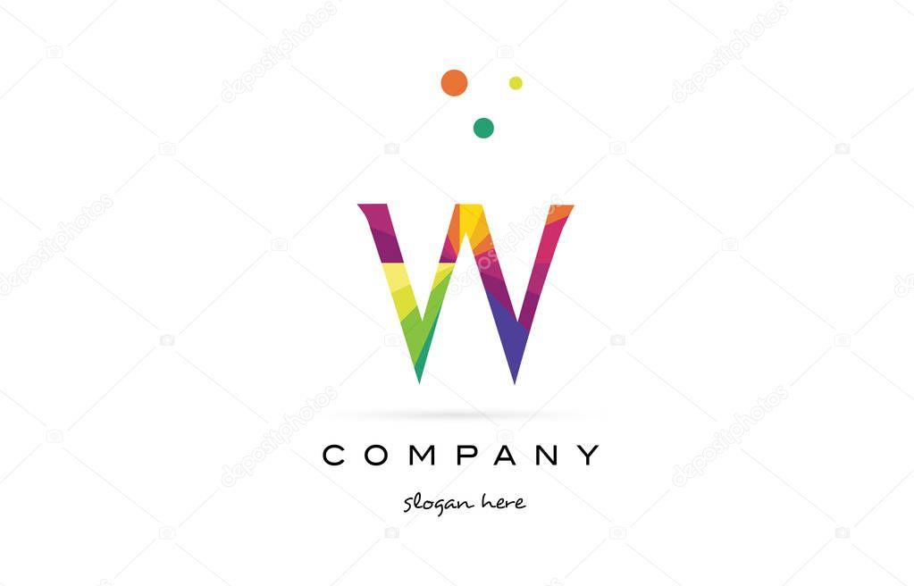 w kreative Regenbogen Farben Alphabet Buchstaben Logo Symbol ...