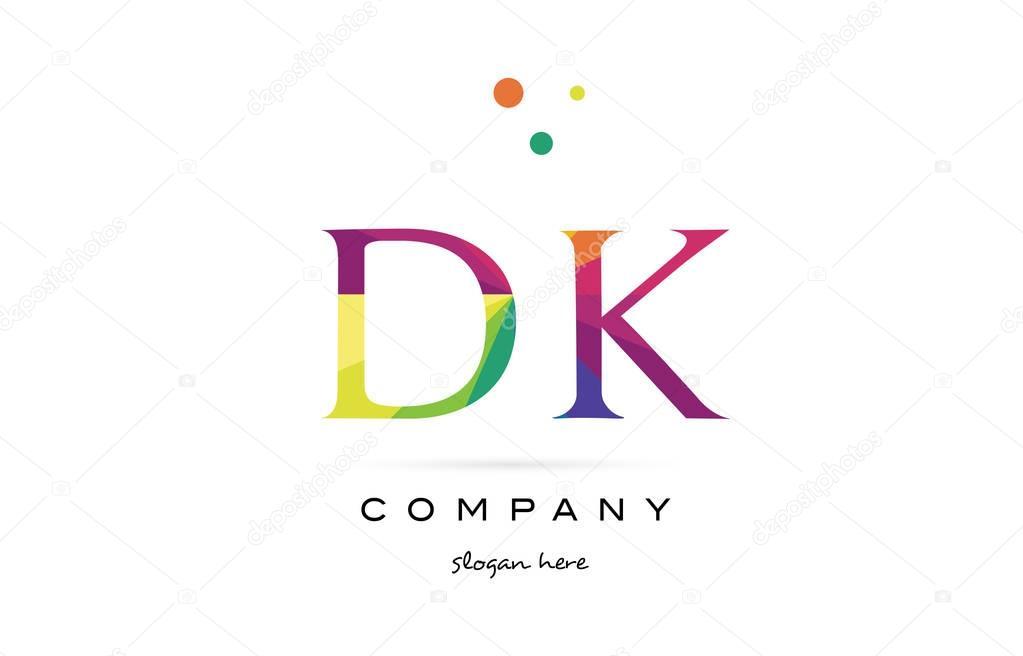 DK-Logo Symbol d k kreative Regenbogen Farben Alphabet Buchstaben ...