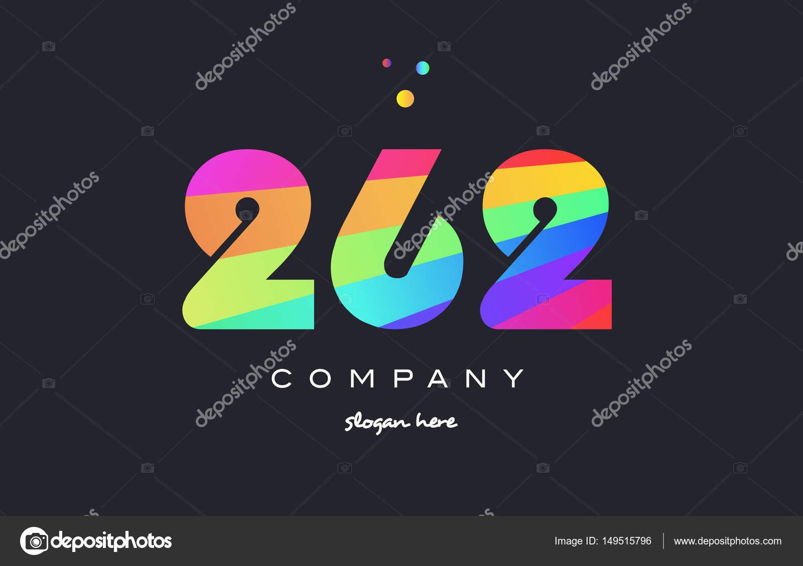 262 Colorato Arcobaleno Creativo Numero Cifre Numeral Icona Con Il