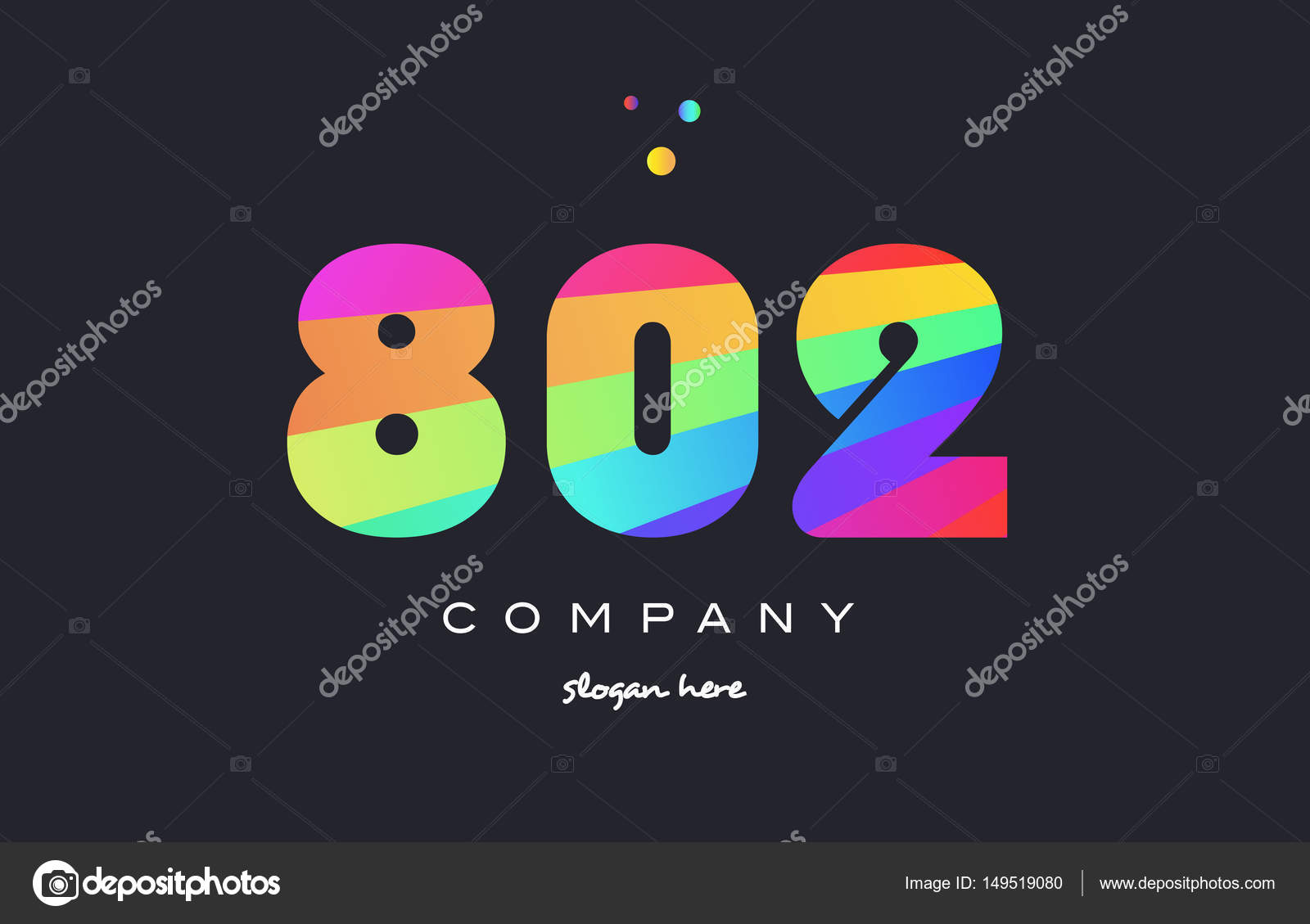 802 colored rainbow creative number digit numeral logo icon — Stock Vector