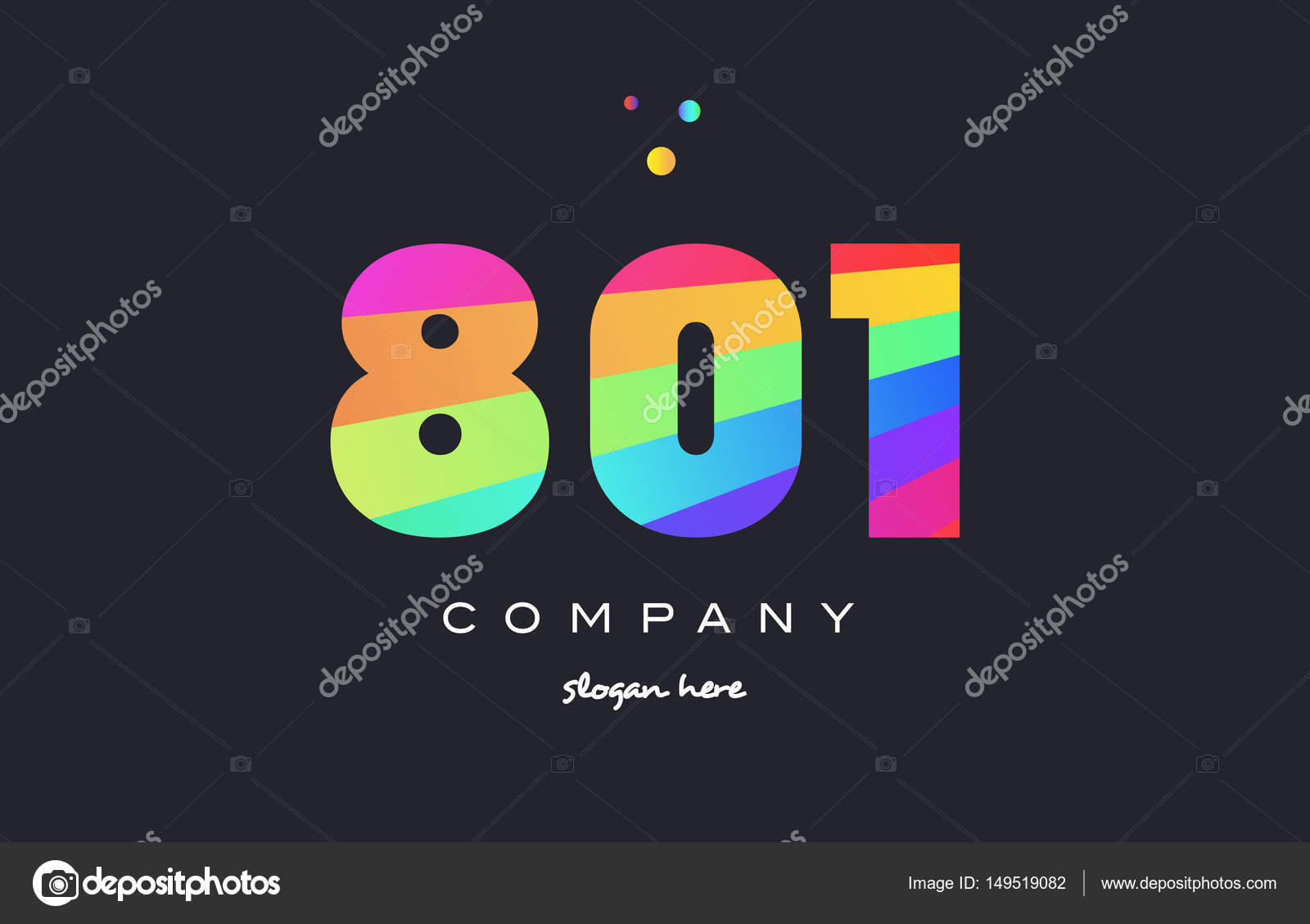 801 colored rainbow creative number digit numeral logo icon — Stock Vector