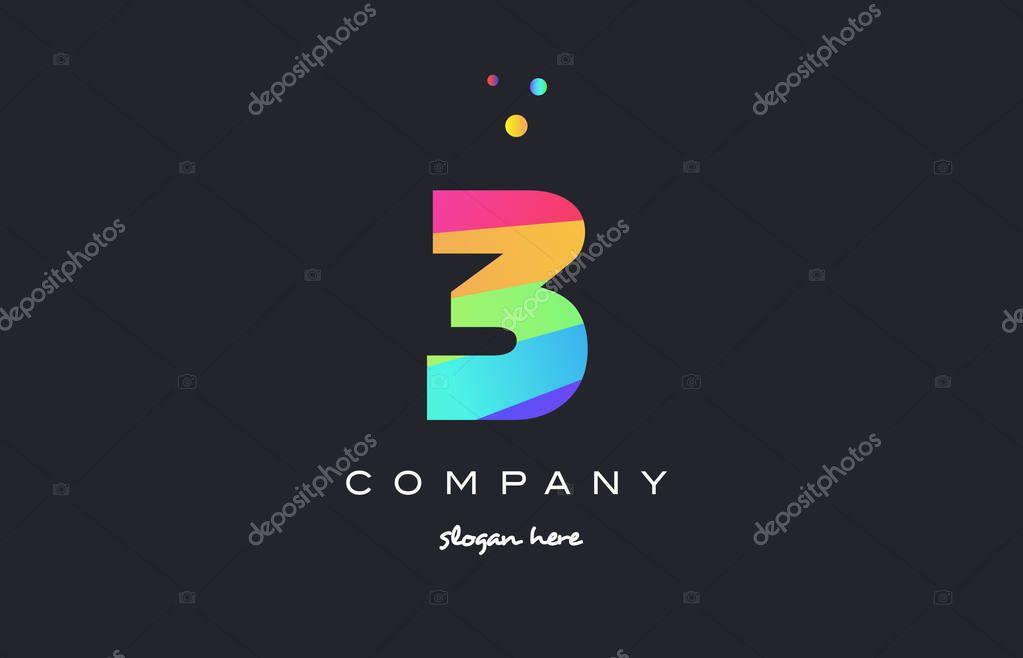3 Tre Colorato Arcobaleno Creativo Numero Cifre Numeral