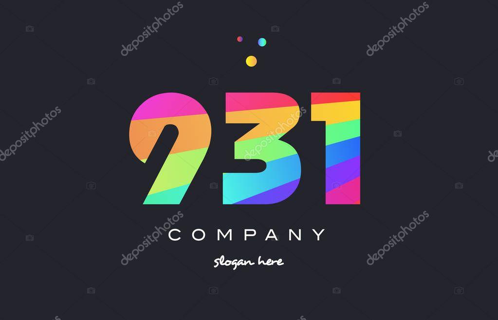 931 Barevné Duhové číslo číslice číslice Logo Ikonu