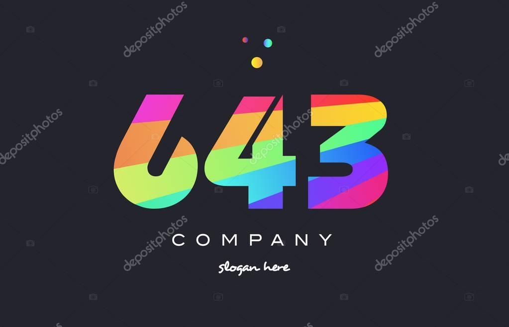 643 Colorido Arco-íris Criativo Número Dígito Numérico
