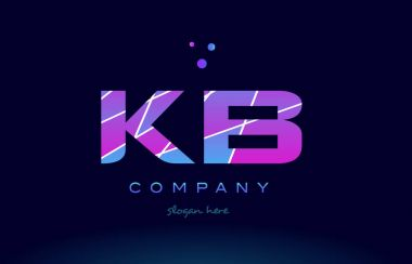 kb k b  colored blue pink purple alphabet letter logo icon vecto